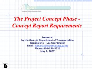 The Project Concept Phase - Concept Report Requirements