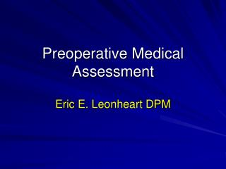 Preoperative Medical Assessment