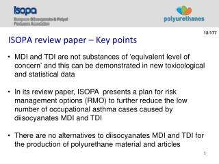 ISOPA review paper – Key points