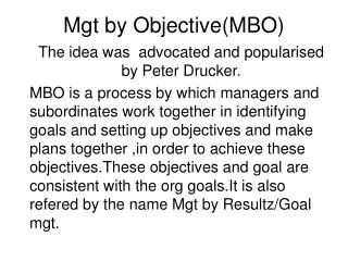 Mgt by Objective(MBO)