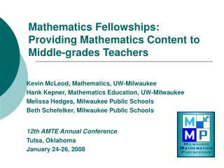 Mathematics Fellowships: Providing Mathematics Content to Middle-grades Teachers
