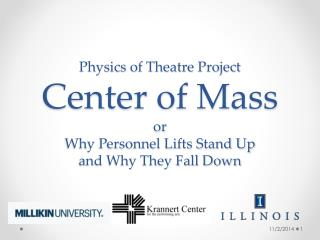 Physics of Theatre Project Center of Mass or  Why Personnel Lifts Stand Up and Why They Fall Down