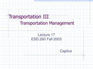 Transportation III  Transportation Management