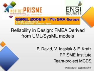 P. David, V. Idasiak & F. Kratz  PRISME Institute  Team-project MCDS
