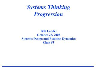 Systems Thinking Progression in SD & BD Course