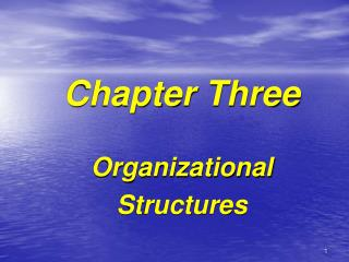 Chapter Three Organizational Structures