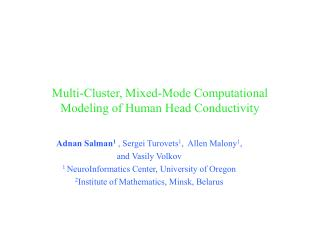 Multi-Cluster, Mixed-Mode Computational Modeling of Human Head Conductivity
