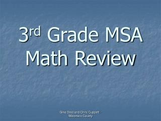 3 rd  Grade MSA Math Review