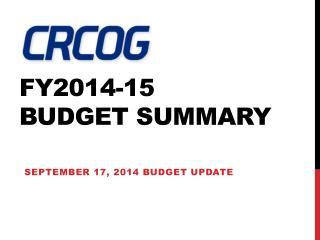FY2014-15  Budget Summary