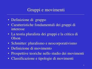Gruppi e movimenti