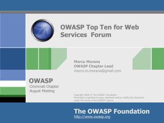 OWASP Top Ten for Web  Services  Forum