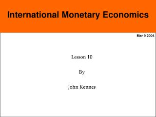 International Monetary Economics