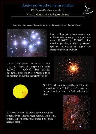 ¿Cuáles son los colores de las estrellas? Fís. Brenda Carolina Arias Martín