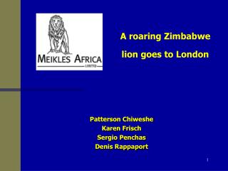 Patterson Chiweshe Karen Frisch Sergio Penchas Denis Rappaport