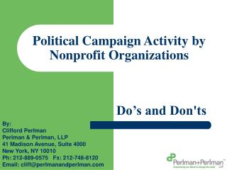 Political Campaign Activity by Nonprofit Organizations