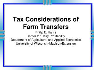 Alternatives for transferring farm assets	p. 1
