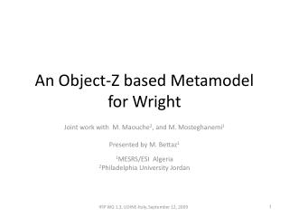 An Object-Z based Metamodel for Wright