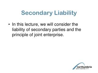Secondary Liability
