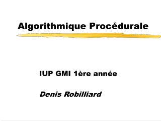 Algorithmique Procédurale