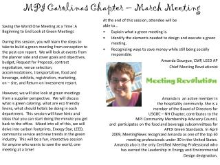 MPI Carolinas Chapter – March Meeting