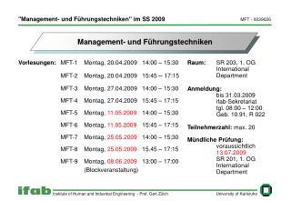 """""""Management- und Führungstechniken"""" im SS 2009"""