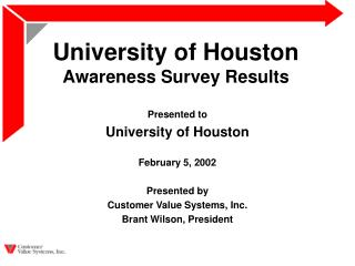 University of Houston Awareness Survey Results