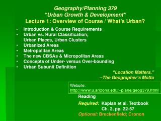 "Geography/Planning 379  ""Urban Growth & Development"" Lecture 1: Overview of Course / What's Urban?"