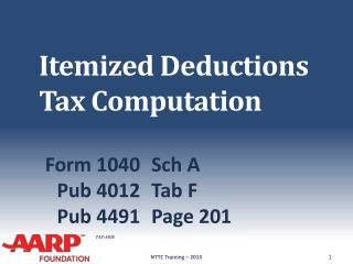 Itemized Deductions Tax Computation