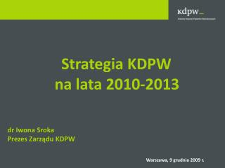 Strategia KDPW  na lata 2010-2013