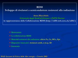 IFAE Incontri di Fisica delle Alte energie – Catania 2005