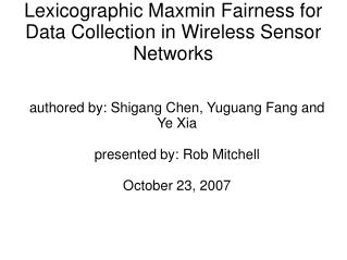 Lexicographic Maxmin Fairness for Data Collection in Wireless Sensor Networks