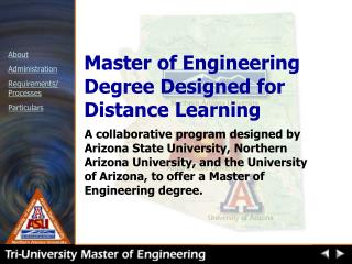 Master of Engineering Degree Designed for Distance Learning