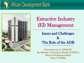 Extractive Industry (EI) Management ____________________________________________________________