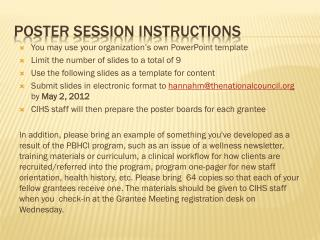 Poster Session Instructions
