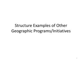 Structure Examples of Other Geographic Programs/Initiatives