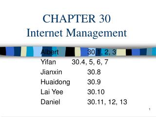 CHAPTER 30 Internet Management