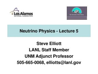 Neutrino Physics - Lecture 5
