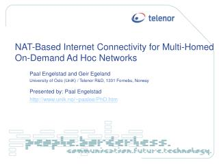 NAT-Based Internet Connectivity for Multi-Homed On-Demand Ad Hoc Networks
