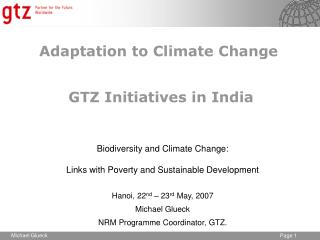 Adaptation to Climate Change  GTZ Initiatives in India