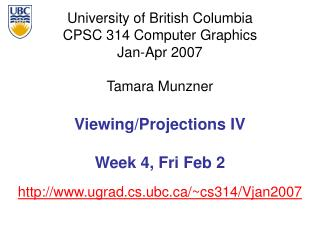Viewing/Projections IV Week 4, Fri Feb 2