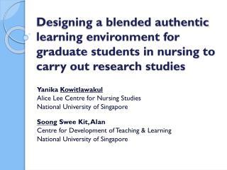 Yanika  Kowitlawakul Alice Lee Centre for Nursing Studies National University of Singapore