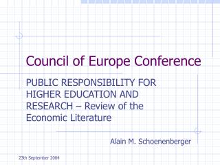Council of Europe Conference
