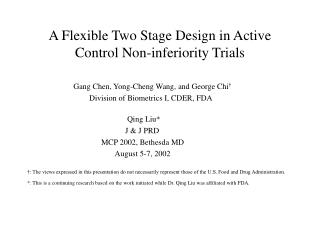 A Flexible Two Stage Design in Active  Control Non-inferiority Trials