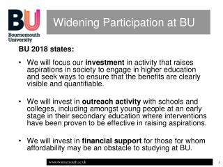 Widening Participation at BU