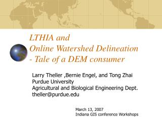 LTHIA and  Online Watershed Delineation - Tale of a DEM consumer