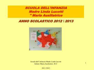"""SCUOLA DELL'INFANZIA  Madre Linda  Lucotti """" Maria Ausiliatrice"""