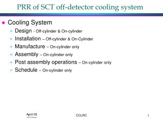 PRR of SCT off-detector cooling system