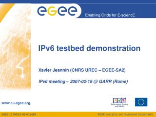 IPv6 testbed demonstration