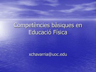 Competències bàsiques en Educació Física