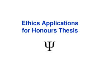 Ethics Applications for Honours Thesis